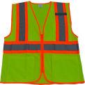 Petra Roc Two Tone DOT Safety Vest, ANSI Class 2, Polyester Mesh, Lime/Orange, 4XL/5XL