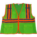 "Petra Roc Two Tone DOT Safety Vest W/1"" Reflective Tape, Class 2, Polyester Mesh, Lime, 4XL/5XL"