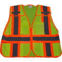 Petra Roc 5-Point Breakaway Public Safety Vest, ANSI Class 2, Polyester Mesh, Lime/Orange, 2XL-5XL