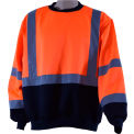 Petra Roc Crew Neck Sweater, ANSI Class 3, Polar Fleece, Orange/Black, 3XL