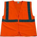 Petra Roc Safety Vest, ANSI Class 2, Zipper Closure, Polyester Solid Knit Fabric, Orange, 2XL/3XL