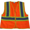 Petra Roc Two Tone DOT Safety Vest, ANSI Class 2, Polyester Solid, Orange/Lime, 4XL/5XL