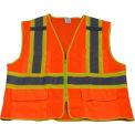 Petra Roc Two Tone DOT Safety Vest, ANSI Class 2, Polyester Mesh, Orange/Lime, 2XL/3XL
