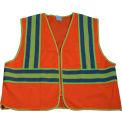 "Petra Roc Two Tone DOT Safety Vest W/1"" Reflective Tape, Class 2, Polyester Mesh, Orange, 4XL/5XL"