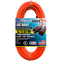 U.S. Wire 65100 100 Ft. Three Conductor Orange Extension Cord, 12/3 Ga. SJTW-A, 15A