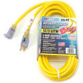 U.S. Wire 74025 25 Ft. Power-On Illuminated Plug Temp-Flex-35 Cord, Yellow, 300V, SJTW-A 12/3