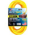 U.S. Wire 89050 50 Ft. Yellow Artic/Tropic Cord W/Pow-R Block, 12/3 Ga. SJEOW-A, 300V, 15A