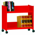 "Single-Side Slanted 2 Shelf Book Cart - 28""Lx13""Wx24-1/2""H - Red"