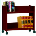 "Single-Side Slanted 2 Shelf Book Cart - 28""Lx13""Wx24-1/2""H - Burgundy"