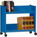 "Single-Side Slanted 2 Shelf Book Cart - 28""Lx13""Wx24-1/2""H - Blue"