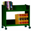 "Single-Side Slanted 2 Shelf Book Cart - 28""Lx13""Wx24-1/2""H - Forest Green"