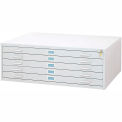 "5-Drawer Steel Flat File for 36"" x 48"" Documents, White"