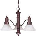 """Satco 60-192 Gotham 3 Light 23"""" Chandelier w/ Alabaster Glass Bell Shades  Old Bronze"""