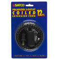 Satco 93-173 12 Ft. Coiled (Extended) Extension Cord, Black