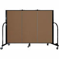 "Screenflex 3 Panel Portable Room Divider, 4'H x 5'9""L, Fabric Color: Walnut"