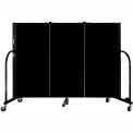 "Screenflex 3 Panel Portable Room Divider, 4'H x 5'9""L, Fabric Color: Black"