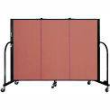 "Screenflex 3 Panel Portable Room Divider, 4'H x 5'9""L, Fabric Color: Cranberry"