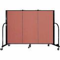 "Screenflex 3 Panel Portable Room Divider, 4'H x 5'9""L, Fabric Color: Cranberry"