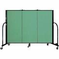 "Screenflex 3 Panel Portable Room Divider, 4'H x 5'9""L, Fabric Color: Sea Green"