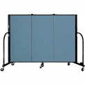 "Screenflex 3 Panel Portable Room Divider, 4'H x 5'9""L, Fabric Color: Blue"
