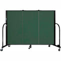 "Screenflex 3 Panel Portable Room Divider, 4'H x 5'9""L, Fabric Color: Green"