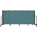 "Screenflex 5 Panel Portable Room Divider, 4'H x 9'5""L, Fabric Color: Lake"
