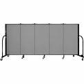 "Screenflex 5 Panel Portable Room Divider, 4'H x 9'5""L, Fabric Color: Stone"