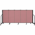 "Screenflex 5 Panel Portable Room Divider, 4'H x 9'5""L, Fabric Color: Rose"