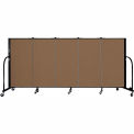 "Screenflex 5 Panel Portable Room Divider, 4'H x 9'5""L, Fabric Color: Walnut"