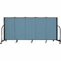"Screenflex 5 Panel Portable Room Divider, 4'H x 9'5""L, Fabric Color: Summer Blue"