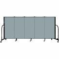 "Screenflex 5 Panel Portable Room Divider, 4'H x 9'5""L, Fabric Color: Grey Stone"