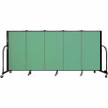 "Screenflex 5 Panel Portable Room Divider, 4'H x 9'5""L, Fabric Color: Sea Green"