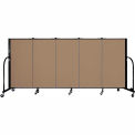 "Screenflex 5 Panel Portable Room Divider, 4'H x 9'5""L, Fabric Color: Beech"