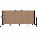 "Screenflex 5 Panel Portable Room Divider, 4'H x 9'5""L, Fabric Color: Beech"
