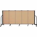 "Screenflex 5 Panel Portable Room Divider, 4'H x 9'5""L, Fabric Color: Sand"