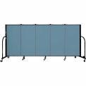 "Screenflex 5 Panel Portable Room Divider, 4'H x 9'5""L, Fabric Color: Blue"