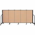 "Screenflex 5 Panel Portable Room Divider, 4'H x 9'5""L, Fabric Color: Wheat"