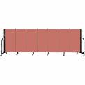 "Screenflex 7 Panel Portable Room Divider, 4'H x 13'1""L Fabric Color: Cranberry"