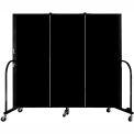 "Screenflex 3 Panel Portable Room Divider, 5'H x 5'9""L, Fabric Color: Charcoal Black"