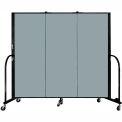 "Screenflex 3 Panel Portable Room Divider, 5'H x 5'9""L, Fabric Color: Grey Stone"