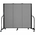 "Screenflex 3 Panel Portable Room Divider, 5'H x 5'9""L, Fabric Color: Grey"