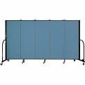 "Screenflex 5 Panel Portable Room Divider, 5'H x 9'5""L, Fabric Color: Summer Blue"