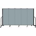 "Screenflex 5 Panel Portable Room Divider, 5'H x 9'5""L, Fabric Color: Grey Stone"
