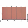 "Screenflex 5 Panel Portable Room Divider, 5'H x 9'5""L, Fabric Color: Cranberry"