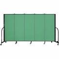 "Screenflex 5 Panel Portable Room Divider, 5'H x 9'5""L, Fabric Color: Sea Green"
