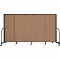 "Screenflex 5 Panel Portable Room Divider, 5'H x 9'5""L, Fabric Color: Beech"