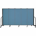 "Screenflex 5 Panel Portable Room Divider, 5'H x 9'5""L, Fabric Color: Blue"