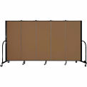 "Screenflex 5 Panel Portable Room Divider, 5'H x 9'5""L, Fabric Color: Oatmeal"