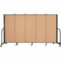 "Screenflex 5 Panel Portable Room Divider, 5'H x 9'5""L, Fabric Color: Wheat"