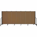 "Screenflex 7 Panel Portable Room Divider, 5'H x 13'1""L, Fabric Color: Walnut"